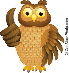 Owl cartoon with thumb up