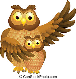 Mother owl with baby owl - Vector Illustration Of Mother owl...