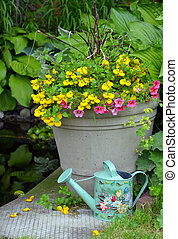 Colorful spring flower planter