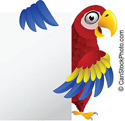 Macaw with blank sign - Vector Illustration Of Macaw with...