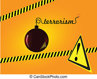 Terrorism - Creative on terror bomb with a fuse sign of...