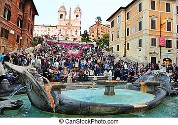 The Spanish Steps Rome - The Spanish Steps in Rome Italy.