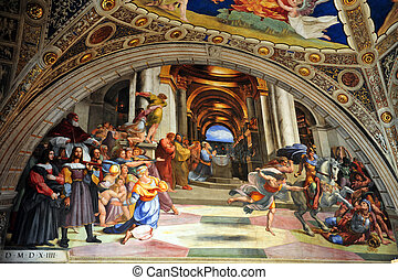 Travel Photos of Italy - Rome - Artwork of Raphael paints at...