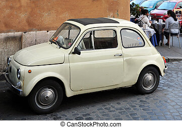 Travel Photos of Italy - Rome - Fiat 600 car parks in a...