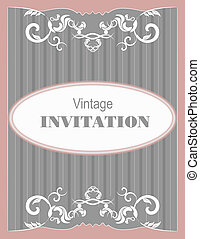 Invitation vintage card Wedding or Valentine`s Day Vector...