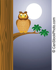 Owl cartoon with moon background - Vector Illustration Of...