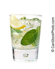 Refreshing drink - Cold mint and lime drink isolated on...