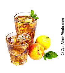Ice tea - Two glasses of refreshing peach, lemon and mint...