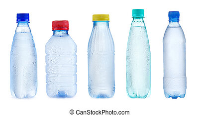 set with bottles of water - set with plastic bottles of...