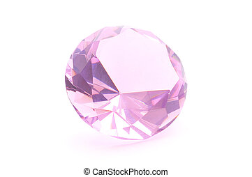 Pink crystal on white background - Pink crystal isolated on...