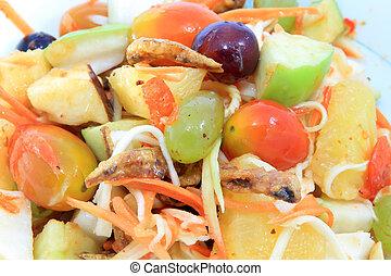 mixed fruits salad with papaya - thai food - mixed fruits...