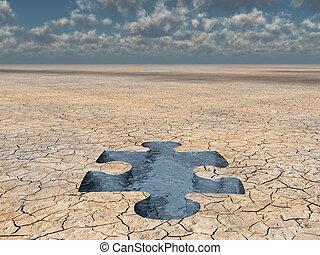 desierto, agua, rompecabezas