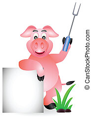 pig chef with blank sign - vector illustration of pig chef