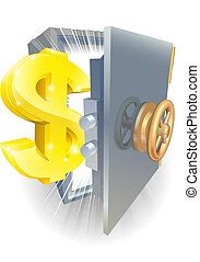 Safe with gold dollar sign - Illustration of a safe with...