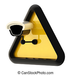 Camera cctv alert sign isolated - Closed circuit television...