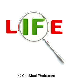 "Word ""life"" under the magnifier isolated"