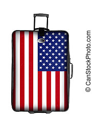 dark suitcase with united states flag isolated over white...