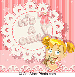 """It`s a girl"" pink openwork card for your announcement card"