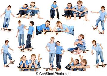 Two boys talking on a skateboard