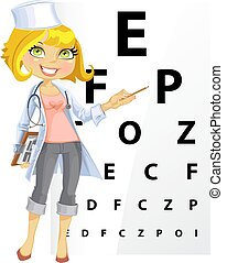 Cute woman doctor - Ophthalmologist points to the table for...