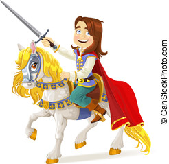 Brave Prince Charming on horse - Brave Prince Charming on a...