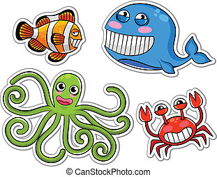 sea creatures - funny cartoon sea creatures