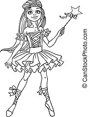 Cute dancing ballerina Fairy black outline for coloring
