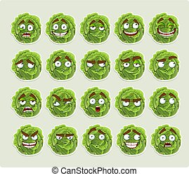 cartoon green cabbage smiles