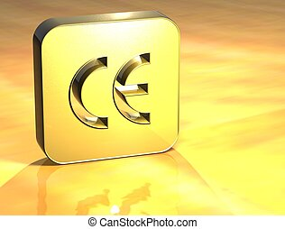 3D European Community Gold Sign over yellow background