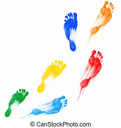 Prints of human feet - Colourful human foot prints on white...