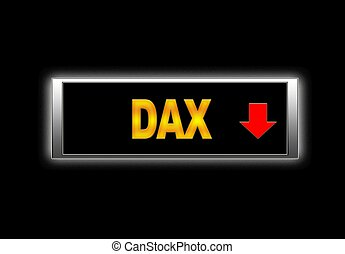 Dax negative. - Illuminated sign with Dax negative.