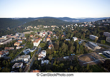 Highly detailed aerial city view with crossroads, roads, factories, houses, parks, parking lots, Brno, Czech Republic