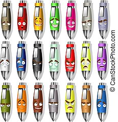 Set of color souvenir smiles pens