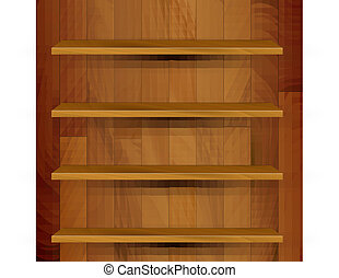 Vector wooden empty realistic bookcase illustration