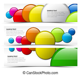 Set of horizontal banners with 3d circles
