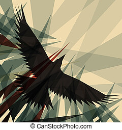 Crow - Editable vector design of a flying crow