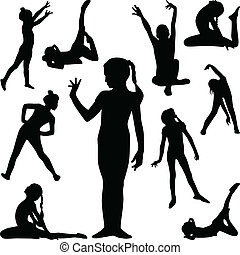 gymnastics silhouette vector - girl practice gymnastics in...