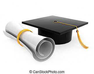 Graduation hat on white background - Graduation hat / board...