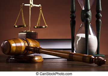 Law theme, mallet of judge - Law and justice concept in...