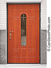 Brown front door - entrance to the building - Common brown...