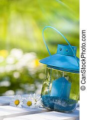 Garden lantern with nature background