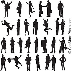set of silhouettes of business people in different...