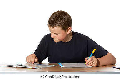 Teenage boy concentrating on his studies as he makes notes...