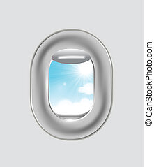 Airplane window - Clouds and sky as seen through window of...