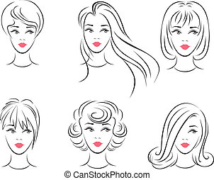 Hairstyles - Illustration of the six options for womens...