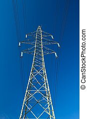 Electric Line - High voltage electric line against blue sky