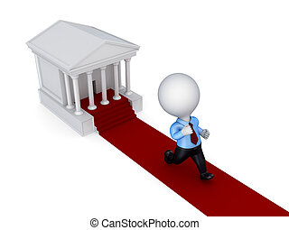 3d small person running from a courthouse.