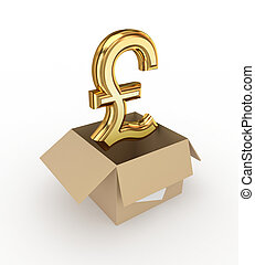 Golden pound sterling sign in a carton box.