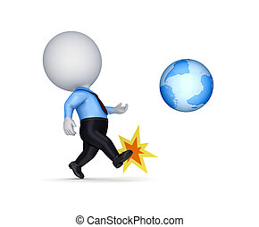 3d small person kicking a globe.Isolated on white...