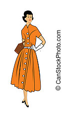 woman in fifties dress - fashionable lady from fifties...